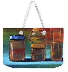 Weekender Tote Bag featuring the painting Jars Still Life Painting by Nancy Merkle