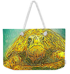 Weekender Tote Bag featuring the digital art Jasmine The Turtle by Erika Swartzkopf