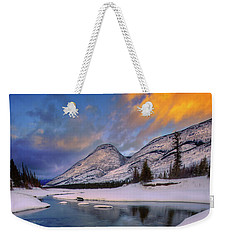 Weekender Tote Bag featuring the photograph Jasper In The Winter by Dan Jurak