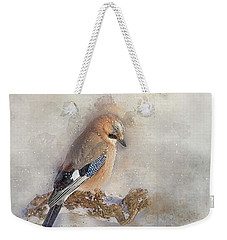 Weekender Tote Bag featuring the photograph Jay In Falling Snow by Brian Tarr