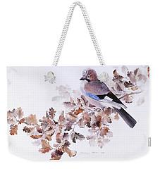 Jay On A Dried Oak Branch Weekender Tote Bag