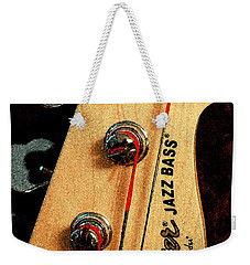 Weekender Tote Bag featuring the digital art Jazz Bass Headstock by Todd Blanchard