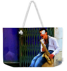 Weekender Tote Bag featuring the photograph Jazz In The Street by David Dehner