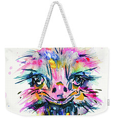 Weekender Tote Bag featuring the painting Jazzzy Ostrich by Zaira Dzhaubaeva