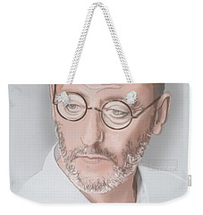 Weekender Tote Bag featuring the mixed media Jean Reno by TortureLord Art