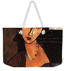 Jeanne Hebuterne With Hat And Necklace Weekender Tote Bag