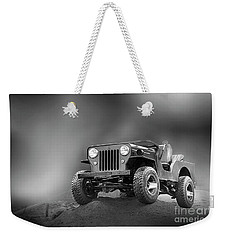 Weekender Tote Bag featuring the photograph Jeep Bw by Charuhas Images