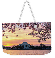 Jefferson Memorial At Sunrise With Blossoms Weekender Tote Bag