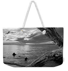 Jekyll Driftwood At Sunset In Black And White Weekender Tote Bag