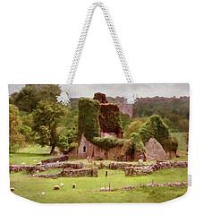 Weekender Tote Bag featuring the painting Jerpoint Park - Irish Landscape With Ruins by Menega Sabidussi