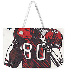 Weekender Tote Bag featuring the drawing Jerry Rice by Jeremiah Colley