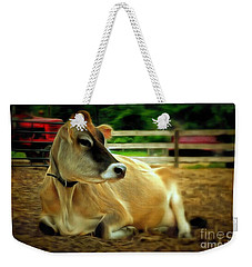 Jersey Cow - Chillaxin' On The Farm Weekender Tote Bag by Janine Riley