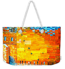 Jerusalem Wailing Wall Original Acrylic Palette Knife Painting Weekender Tote Bag