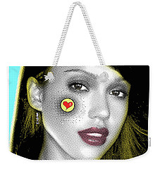 Jessica Alba Pop Art, Portrait, Contemporary Art On Canvas, Famous Celebrities Weekender Tote Bag