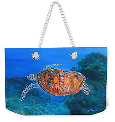 Weekender Tote Bag featuring the painting Jessie's Sea Turtle by LaVonne Hand