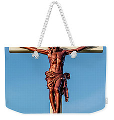 Weekender Tote Bag featuring the photograph Jesus Crucifix Against The Sky 3 by Gary Whitton