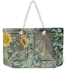 Jesus Looking Through A Lattice With Sunflowers Weekender Tote Bag by Tissot