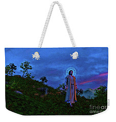 Weekender Tote Bag featuring the painting Jesus Walks To The Town by Dave Luebbert