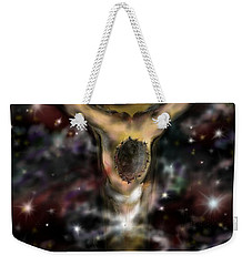Weekender Tote Bag featuring the digital art Jesus World by Darren Cannell