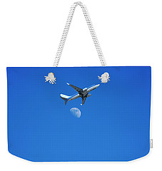 Jet Plane Flying Over The Moon Weekender Tote Bag