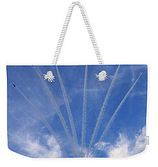 Weekender Tote Bag featuring the photograph Jet Planes Formation In Sky by Pradeep Raja Prints