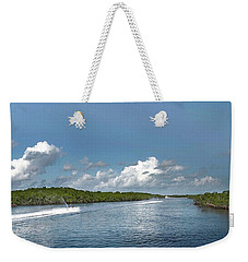 Weekender Tote Bag featuring the photograph Jet Skiing by Judy Hall-Folde