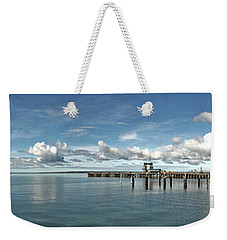 Weekender Tote Bag featuring the photograph Jetty To Shore by Stephen Mitchell