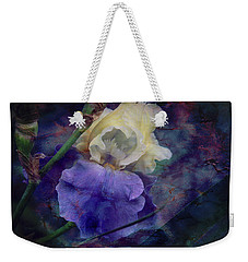 Weekender Tote Bag featuring the photograph Jeweled Iris by Toni Hopper
