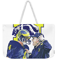 Jim Harbaugh And Bo Schembechler Weekender Tote Bag