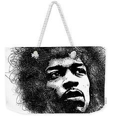 Jimi Hendrix Bw Scribbles Portrait Weekender Tote Bag