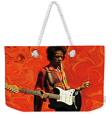 Weekender Tote Bag featuring the photograph Jimi Hendrix Purple Haze Orange by David Dehner