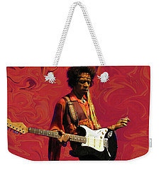 Weekender Tote Bag featuring the photograph Jimi Hendrix Purple Haze Red by David Dehner