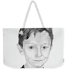 Weekender Tote Bag featuring the drawing Jimmy by Mayhem Mediums