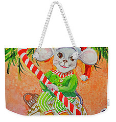 Weekender Tote Bag featuring the painting Jingle Mouse by Li Newton