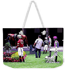 Weekender Tote Bag featuring the digital art Jockeys Painting by  Newwwman