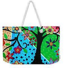 Weekender Tote Bag featuring the painting Jodi's Tree Of Life by Pristine Cartera Turkus