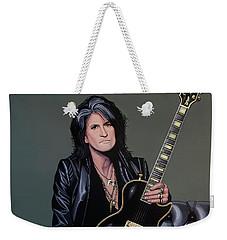 Joe Perry Of Aerosmith Painting Weekender Tote Bag by Paul Meijering