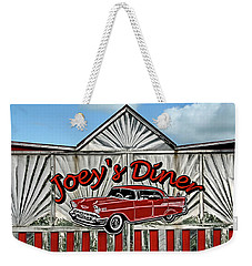 Weekender Tote Bag featuring the photograph Joey's Diner Sign by Betty Denise