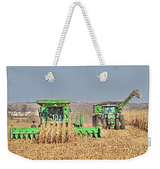 John Deere Combine Picking Corn Followed By Tractor And Grain Cart Weekender Tote Bag