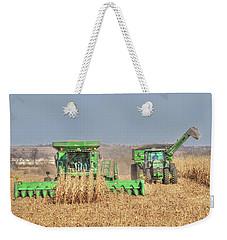 John Deere Combine Picking Corn Followed By Tractor And Grain Cart Weekender Tote Bag