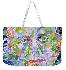 Weekender Tote Bag featuring the painting John F. Kennedy - Watercolor Portrait.2 by Fabrizio Cassetta