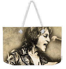 Weekender Tote Bag featuring the digital art John Lennon by Anthony Murphy