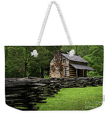 Weekender Tote Bag featuring the photograph John Oliver Cabin by Andrea Silies