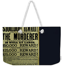 John Wilkes Booth Wanted Poster Weekender Tote Bag by War Is Hell Store