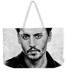 Johnny Depp Grey Specked Ver Weekender Tote Bag by Andrew Read