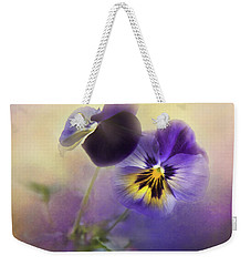 Weekender Tote Bag featuring the photograph Johnny Jump Up by Theresa Tahara
