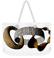 Weekender Tote Bag featuring the sculpture Join Circles by R Muirhead Art