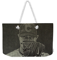 Weekender Tote Bag featuring the drawing Jon Lester Portrait by Melissa Goodrich