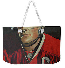 Weekender Tote Bag featuring the drawing Jonathan Toews Portrait by Melissa Goodrich