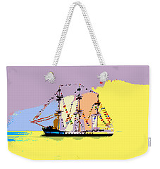 Weekender Tote Bag featuring the painting Jose Gasparilla Sailing Colorful Tampa Bay by David Lee Thompson